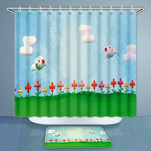 """3D Print Shower Curtains and Bath Rugs Set D Rendering Cartoon Birds and Flower Garden Artistic Paint Brush Texture and Bath Curtains and Doormats Suit for Bathroom Extra Long Size 72""""x79"""" & 32""""x20"""" from Balagoo"""