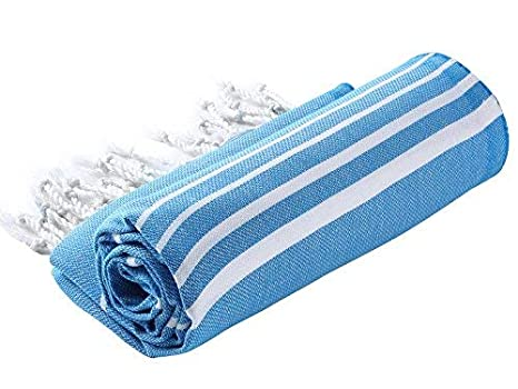 Cacala Toalla de baño turco, modelo Paradise, algodón, azul, 95 x 175 x 0.5 cm: Amazon.es: Hogar