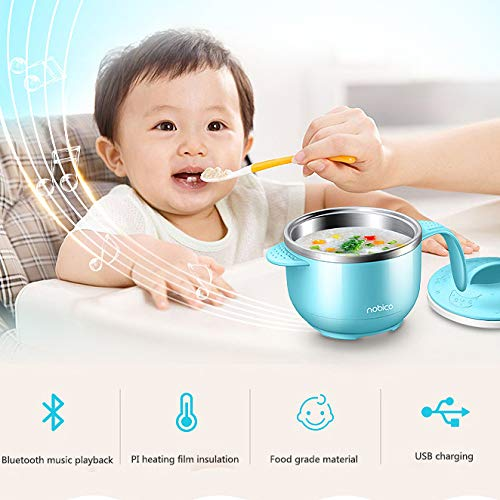 Baby Bowl Intelligent Electric Kids Heat Insulation Bowl, blueetooth Music Bowl Lithium Battery Heating and Holding Bowl