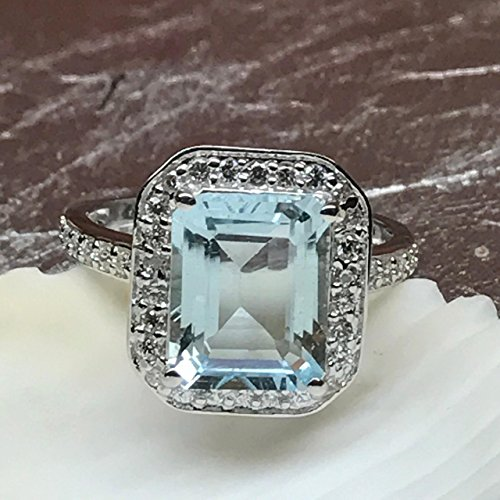 .5ct Aquamarine, Accent Stone 925 Solid Sterling Silver Emerald Cut Ring sz 6, 7, 8, 9 ()