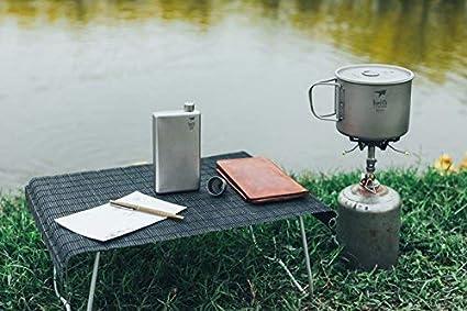 R/ésistante /à lusure alcool en titane Pour vin Mini flasque de camping carr/ée de 100/ml etc. avec entonnoir en titane