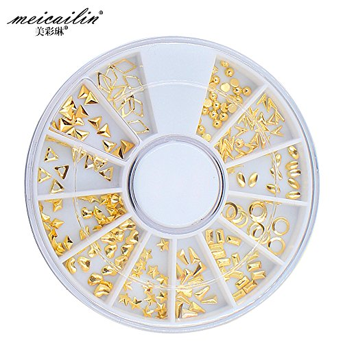 Hot Sell Nail Wheel design with Mini Gold Silver Retangle Triangle Metal Nail Art Studs (A4)
