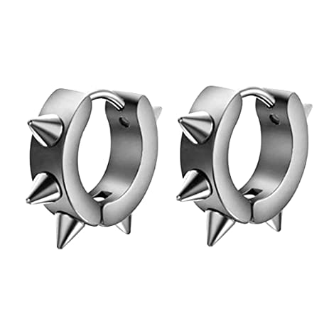 JOVIVI Punk Men Women Jewelry Stainless Steel Spike Hoop Huggies Stud Earrings,3 Pairs