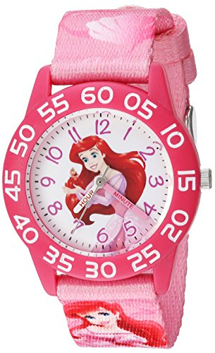 Disney Girl's 'Ariel' Quartz Plastic and Nylon Casual Watch, Color:Pink (Model: WDS000127)