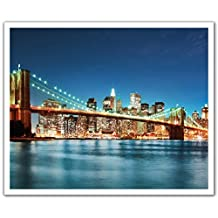 J.P. London Peel and Stick Removable Wall Decal Sticker Mural, New York City Skyline Night Color, 24 by 19.75-Inch