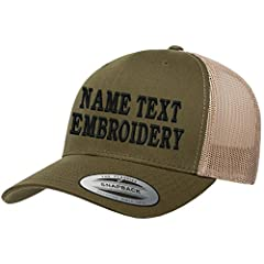 """To order: Pick hat Color - Click """"Customize Now"""" on right yellow button on the page - Choose font type and select the stitch font color - Type Your Text In The Box ( MAX 12 characters ) - Add to Cart. ***** Please note the more text you input..."""