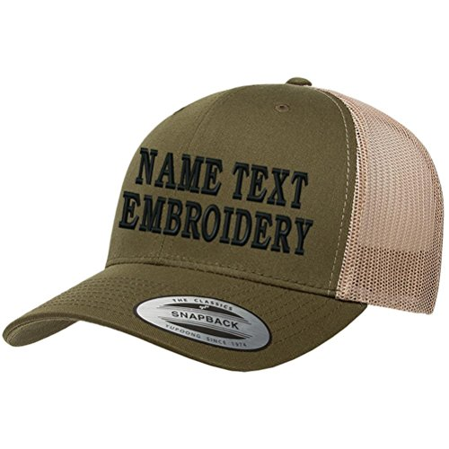 Custom Embroidered Snapback Hat Personalized Yupoong Embroidery Trucker Cap - Olive - Basketball Embroidered Hat