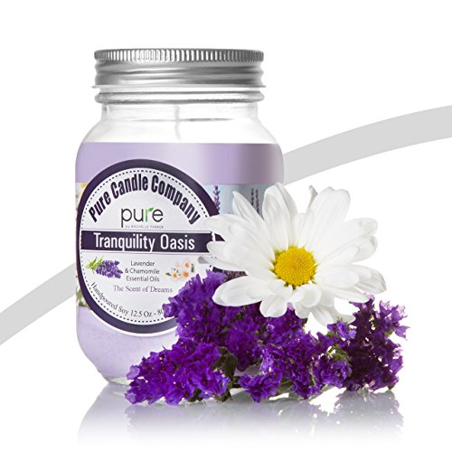 PURE Naturally Scented Aromatherapy Candle Gift, Lavender Chamomile Essential Oil Soy Candle, Large Mason Jar, 12.5 oz. Natural Home Fragrance Yankee Candle, 80+ Hours Burn! (Kosher Gift Baskets Online)