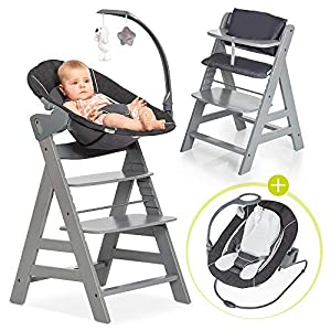 Hauck Alpha Plus Newborn Set Deluxe – Wooden High Chair for Babies – Hauck High Chair from Infant to Toddler with Baby…