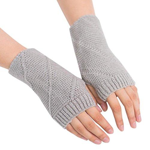 mujer ® el Ouneed punto de para pulgar Gris brazo de Guantes con de para dedos agujero largos invierno Calentadores sin TpwqdvxTr