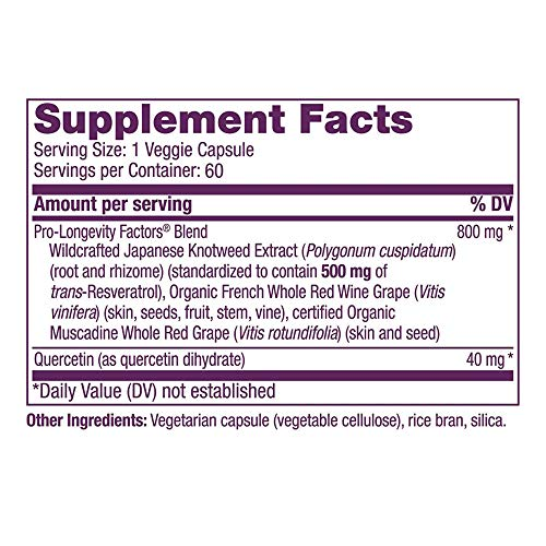 515Uw1ZhuwL - Reserveage, Resveratrol 500 mg, Antioxidant Supplement for Heart and Cellular Health, Supports Healthy Aging, Paleo, Keto, 60 capsules (60 servings)