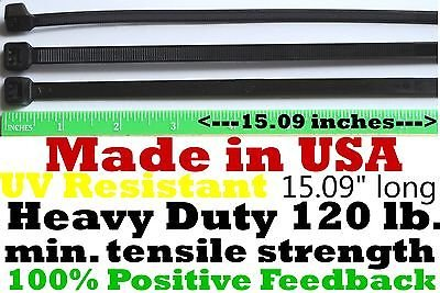 Cable Zip Ties 300pcs Heavy Duty 120lb 14'' UV Resistant Black - Made in the USA by ACT