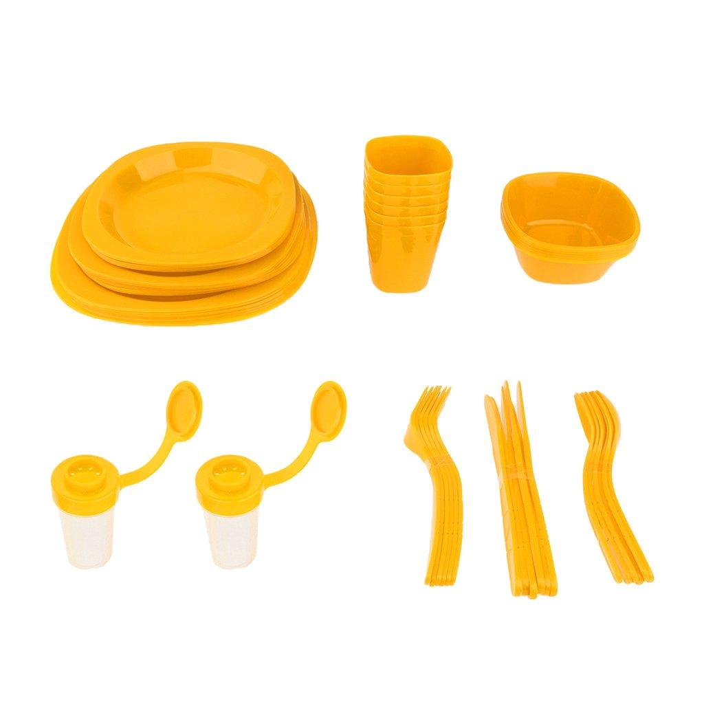 non-brand MagiDeal Set de Cubiertos de Comedor Plasticó de Viajes Multisusos Duradero - Verde