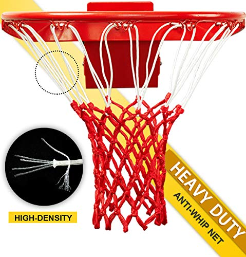 PROGOAL Professional Basketball Net Replacement,Heavy Duty Thick Net Fits Standard Indoor and Outdoor 12-Loop Rims (Red&White, Standard Size) - Indoor Replacement