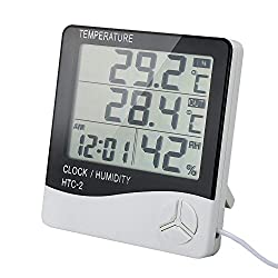 WINGONEER Digital Indoor Outdoor Thermometer and Hygrometer with LCD Screen Alarm Clock 1.5m Probe Cord
