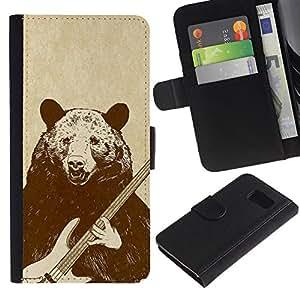 // PHONE CASE GIFT // Moda Estuche Funda de Cuero Billetera Tarjeta de crédito dinero bolsa Cubierta de proteccion Caso Samsung Galaxy S6 / Rock Guitar Bear /