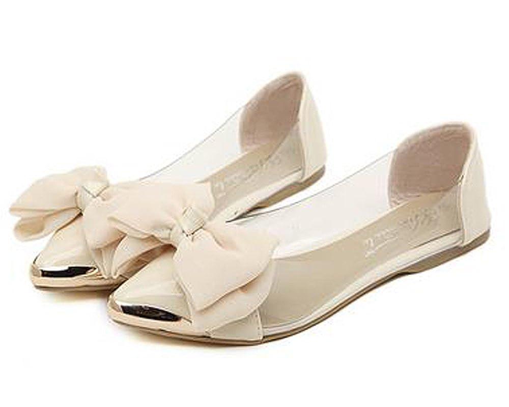 Minetom Damen Mädchen Transparente Folie Schuhe Süßen Stil Spitz Zehe Schuhe Mit Bowknot Rosa 35 BOEpqcFK