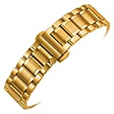 ChezAbbey Stainless Steel Watch Band Replacement Deployment Clasp Watch Strap Gold 24mm