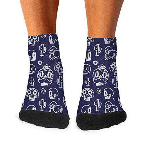 Funny blue mexican candy skull make up Fashion Men's Sporty Wicking Ankle Socks -