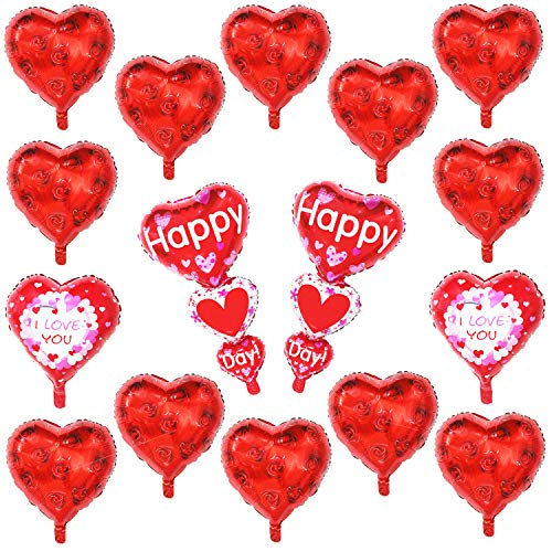 Red Heart Balloons Pack - 16pcs, Helium Supported - Mylar Foil Heart Balloons for Valentines Day, Wedding, Bridal Shower, Anniversary Party Decorations