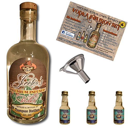 Custom Vodka Infusion Set (White Caribbean Rum) With Personalized Private Labeled Bottle (Rum Infusion)