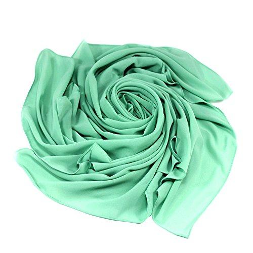 Womens Chiffon Muslim Hijab Scarf Islamic Shawls Wrap (Mint green) - 1