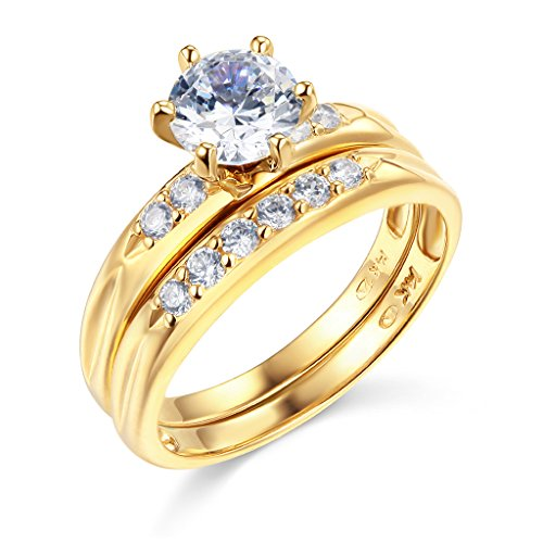 TWJC 14k Yellow Gold SOLID Engagement Ring and Wedding Band 2 Piece Set - Size 6