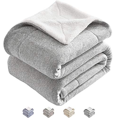 Jersey Sherpa Throw - KAWAHOME Sherpa Knit Throw Blanket Thick Warm Heather Jersey Winter Blanket for Couch Sofa Bed Throw Size 50 X 60 Inches Grey and White