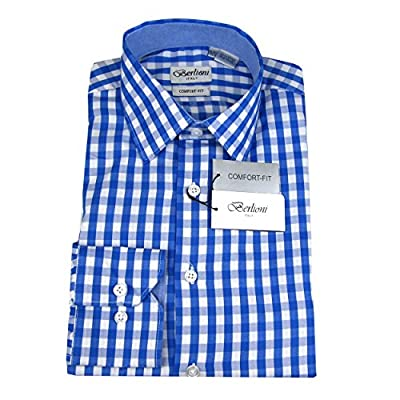 Blue White Mens 100% Cotton Comfort Fit Plaid Dress Shirt
