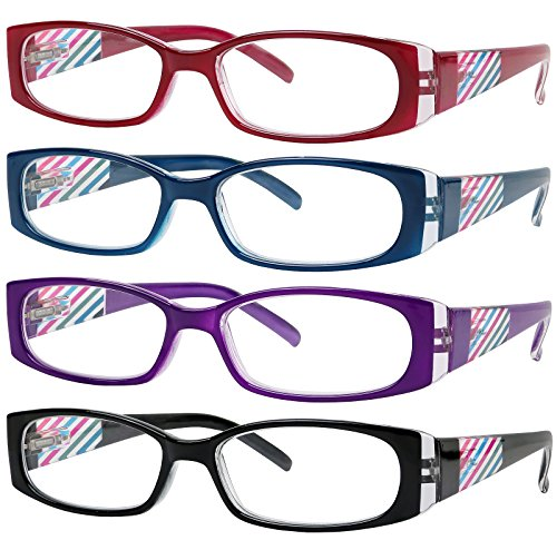 Reading Glasses 4 Pack Quality Readers Spring Hinge Stylish Designed Womens Glasses for Reading 4 Colors ()