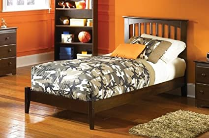 Atlantic Furniture Brooklyn Platform Bed with Open Footrail in Antique  Walnut - Twin - Amazon.com: Atlantic Furniture Brooklyn Platform Bed With Open