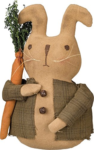 Primitives By Kathy Standing Bunny With Jacket 4.50 Inches x 7.50 Inches x 3 Inches Decorative Signs