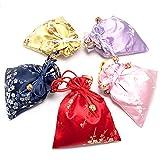10Pcs Silk Brocade Jewelry Pouch Drawstring Gift