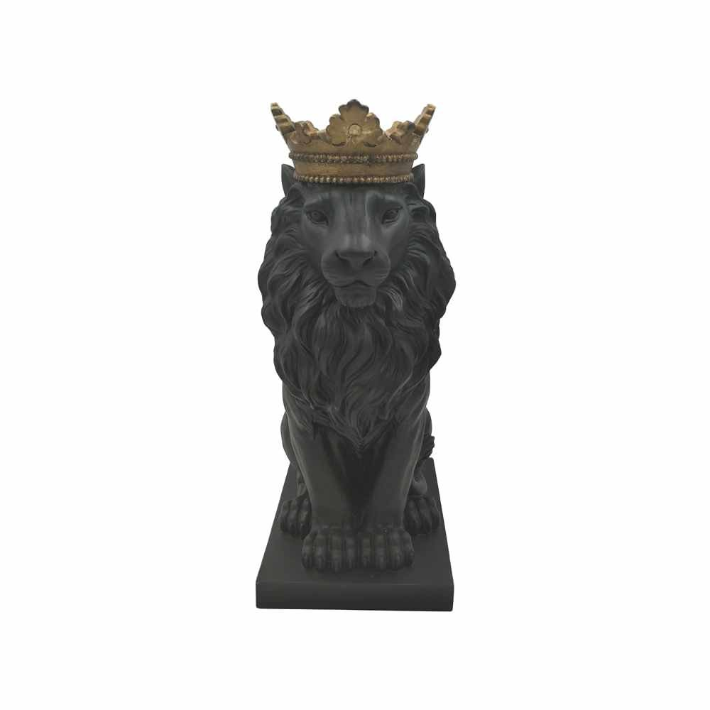 Comfy Hour 15'' Resin Stone Lion Figurine King of Forest Statue Sculpture Home Decoration, Black & Gold