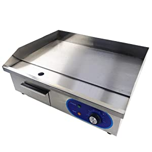 """TAIMIKO Commercial Electric Griddle Flat Top Grill HotPlate Kitchen Grill CounterTop Stainless Steel Thermostatic Control 1500W 22"""" One Year Warranty"""