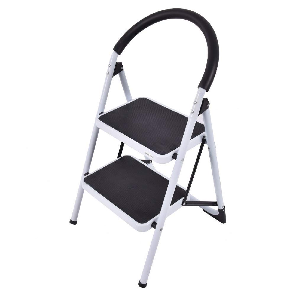 2-Step Ladder Foldable Lightweight Stool Retail Stores Tool Folding Steel Office Bathroom
