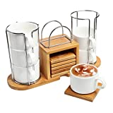 Set of 6 White Ceramic Espresso Tea Cups & Bamboo Coasters w/ Custom Tabletop Storage Rack