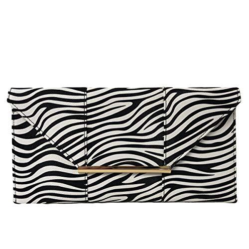(JNB Synthetic Leather Zebra Print Envelope Clutch, White)