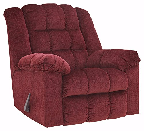 Ashley Furniture Signature Design - Ludden Rocker Recliner - 1 Pull Manual Reclining Sofa - Contemporary - Burgundy Burgundy Recliner
