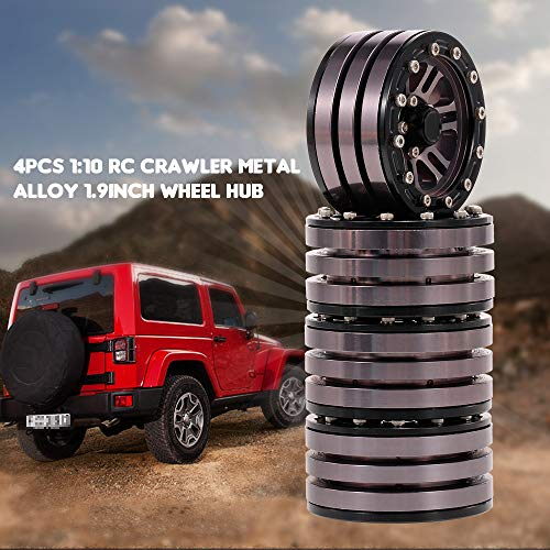 (LtrottedJ 4pcs Metal Alloy 1.9in Wheel Rim Beadlock for 1/10 Traxxas HSP SCX10 D90)