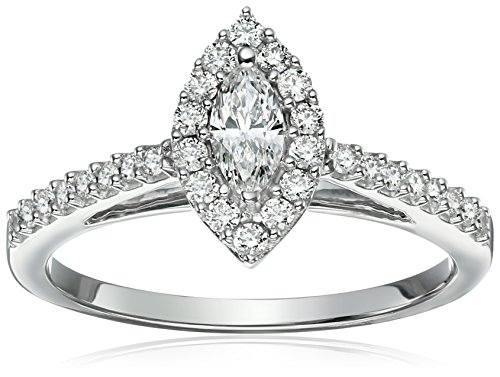 10k White Diamond Engagement Ring (5/8 cttw, H-I Color, I1-I2 Clarity), Size 7