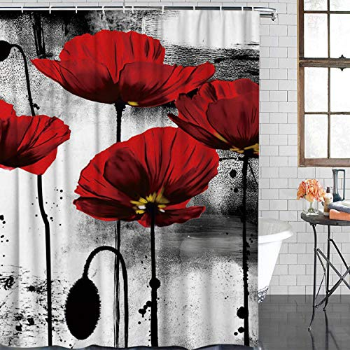 FAMILYDECOR Bathroom Shower Curtain - Vintage Ink Red Poppy Flower Shower Curtains Polyester Fabric Bath Curtain Waterproof Bathroom Curtain with Hooks, 72 X 72 Inch (Curtains Teal Vintage)