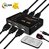 OTYTY 4K HDMI Switch, 5 Ports HDMI Switcher Splitter 4K@30Hz/2K/1080P/3D with IR Remote Control, HDMI Cable for PC, Xbox 360/One, PS4/PS3, Blu-ray Player, Apple TV, Nintendo Switch, Roku/Fire Stick