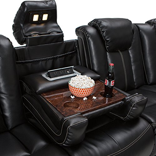 Seatcraft Republic Leather Home Theater Seating Power Recline Multimedia Sofa with Adjustable Powered Headrests, Fold-Down Table, Hidden In-Arm Storage, AC USB Charging, and Lighted Cup Holders, Black
