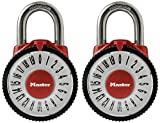 Master Lock Padlock, Standard Dial Combination Lock with Magnification Lens, 2-1/8 in. Wide, Assorted Colors, 1588T (Pack of 2-Combination Alike)
