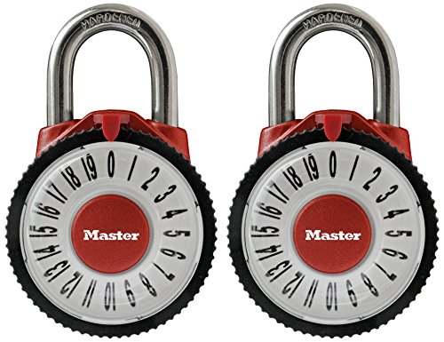 Master Lock Padlock, Standard Dial Combination Lock with Magnification Lens, 2-1/8 in. Wide, Assorted Colors, 1588T (Pack of 2-Combination Alike) by Master Lock