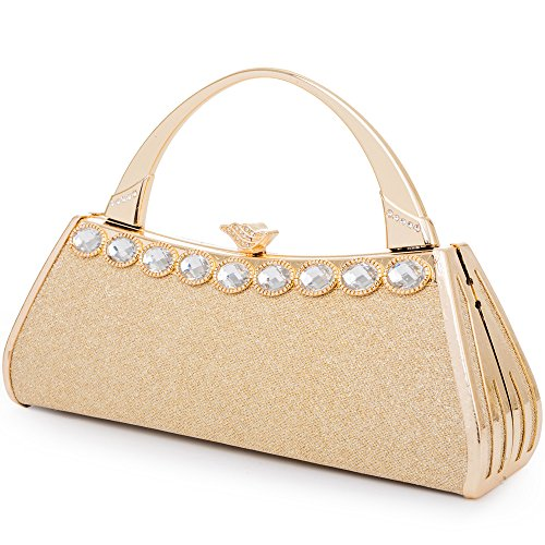 Womans Evening Clutch Bag Wedding Gold Purse Bridal Prom Handbag Party Bags Metal Frame Hard Case With Glittering and Artificial Gemstone Decor (Gold 11) ()