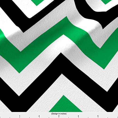 Spoonflower Green Fabric Green & Black Chevrons by Pond Ripple Printed on Fleece Fabric by the Yard -