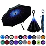 MRTLLOA Double Layer Inverted Umbrella with C-Shaped Handle, Anti-UV Waterproof Windproof Straight Umbrella for Car Rain Outdoor Use