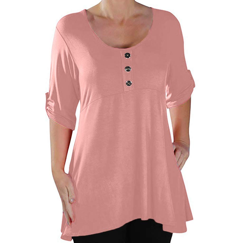 FEDULK Womens Plus Size Tunics Button O Neck Half Sleeve Loose Casual Solid Colour Blouse Sweatshirts Tops(Pink, Large)